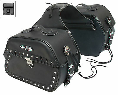 Oxide Kondo Tek Leather Saddle Bags 2 x 18L Motorcycle Panniers