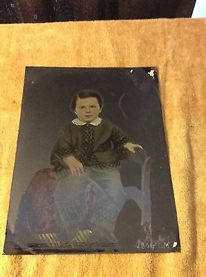 Unframed Large Hand Colored Tin-Type Photo of Boy Son of a Politician Unknown.