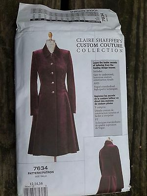 Rare Custom Collection Vogue Sewing Pattern 7634 UNCUT  Sz 12-14-16 Lined Coat