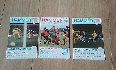 West Ham v Ipswich /Spurs / Ipswich 81/82/83 Season home programmes