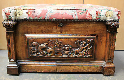 Antique 19th Century Wooden Camphor Blanket Box Chest Greek Carved Poseidon -223