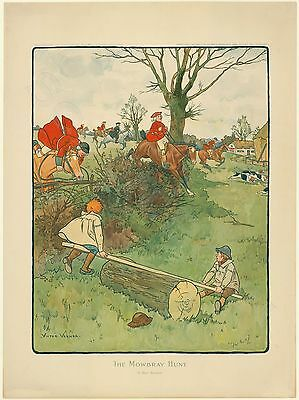 Farblithographie 1902 Victor Venner Mowbray Hunt Jagd Wippe Cartoon Fuchsjagd