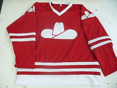 Vintage Calgary Cowboys WHA hockey replica jersey 1975-76 blank away red