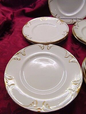 """9-Vintage Antique Gold On White 8 1/8"""" Luncheon Plates Hand Painted-Circa 1900"""