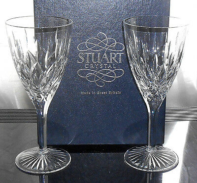 "Two Stuart Crystal Tewkesbury Large Wine Glasses 7.5"" Boxed"