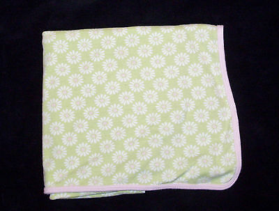 Carters Cotton Swaddle Baby Blanket Pink Green Daisy Flowers