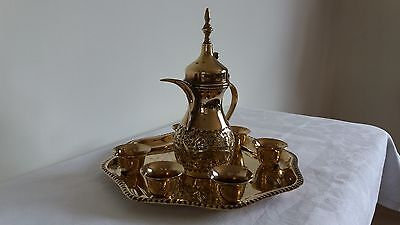 Vintage  Etched Brass Teapot set with tray and 6 cups