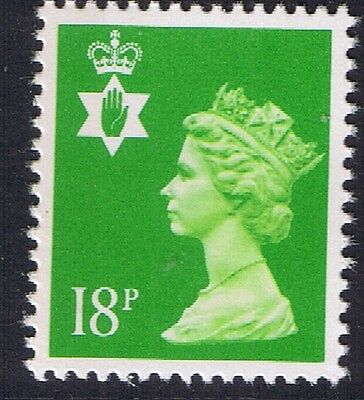 GB QEII Northern Ireland. SG NI48 18p Bright Green 1B. Regional Machin Stamp