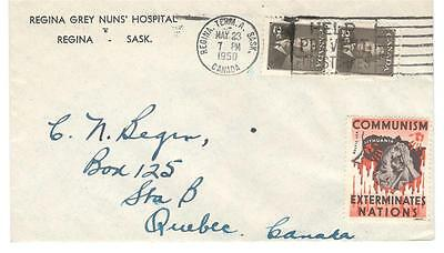 1950 Regina, Sask. Grey Nuns' Hospital CC Lithuania Communist Label/Cinderella