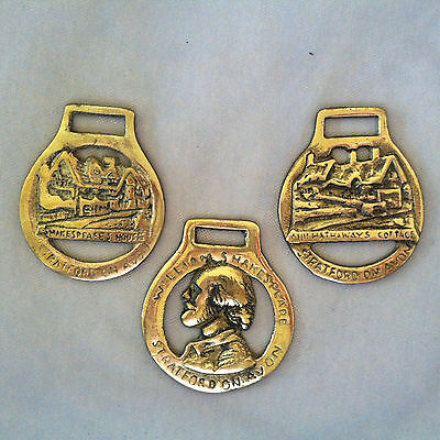 "Lot of 3 Vintage 2.5"" Brass Equestrian HORSE MEDALLIONS ~ SHAKESPEARE"