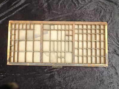 antique PRINTER'S TYPESET DRAW DIVIDED SHADOW BOX - metal reinforced