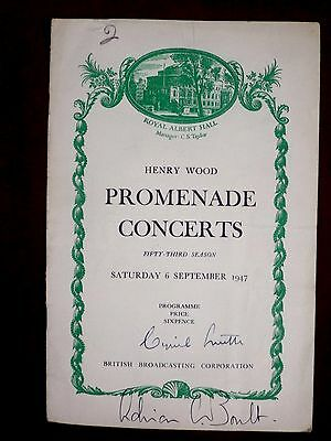 1947 BBC HENRY WOOD PROMS programme signed by Sir Adrian Boult