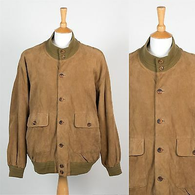 Mens Vintage 80's Brown Suede Bomber Jacket Mod Casual Style Leather Eighties Xl