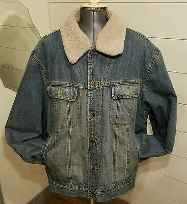 Vintage Lee Outerwear Wool Lined Denim Jacket size 2XL removable wool collar