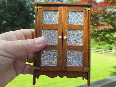 Dollhouse Miniatures Handmade Punched Metal Pie Safe w/3 Shelves Signed KS, 1981