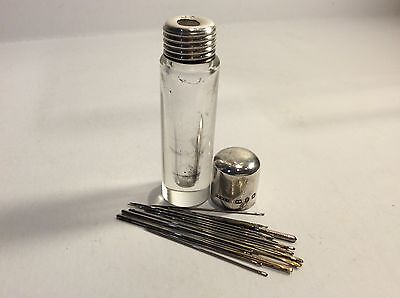 Antique Glass & Solid Silver-topped Needle Holder/Case HM: Birmingham 1898