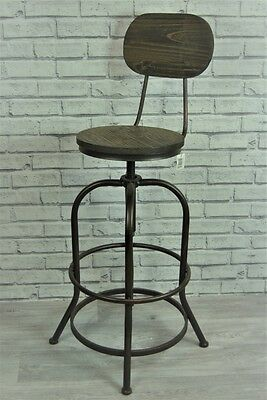 Quirky Rustic Tall Metal and Wood Adjustable Bar Stool Chair