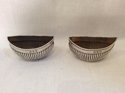 Matching Pair Of Antique Solid Silver Table Salts Hallmarked Birmingham 1894