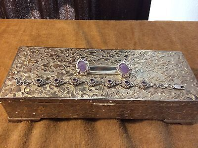 Sterling Silver Bracelet and Earrings with Purple Stone