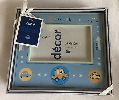 "Cudlite Decor Photo Frame Window Size 3x5"" Blue Boy Theme Cars trucks"