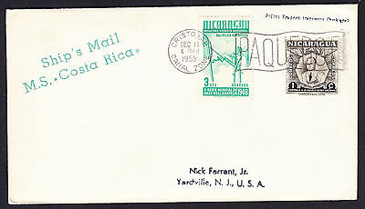 1959 Cristobal Canal Zone Paquebot postmarked cover displaying Nicaragua stamps