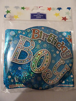 New! Birthday Party Pack Badge Banners Confetti Blue Boy