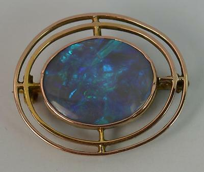 Very Rare Edwardian Black Opal and 9ct Rose Gold Brooch d1727