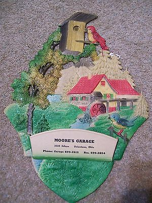 Rare Cardboard Cutout Advertising W Germany Moores Garage Victorian Paper Sign
