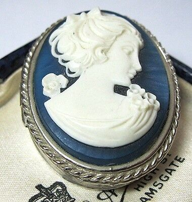 Beautiful Vintage Blue Edwardian Lady Cameo Jewellery Trinket PILL BOX