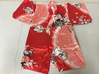 "Japanese Robe Children Size 25"" Length Yukata Kimono Floral Design Red Pink"