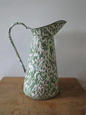 Antique French end of day swirl graniteware enamelware large pitcher