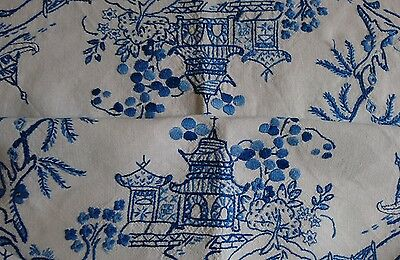 Antique Hand Embroidered Tablecloth Willow Blue  White Chinoiserie - Exquisite!