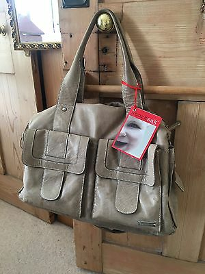 Storksak Sofia Leather Changing Baby Bag Taupe Holdall Tote