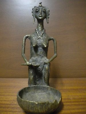 Ashanti Antique  Figure Tribal In Bronze  Cm 24