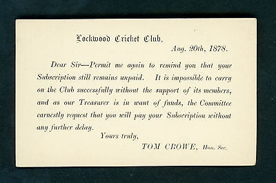 CRICKET POSTCARD  - SMALL SIZE - POSSIBLY THE EARLIEST KNOWN!!! MAY 20th 1878!!