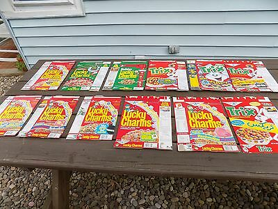 Vintage Lot of 12 General Mills Lucky Charms and Trix Cereal boxes 80's and 90's