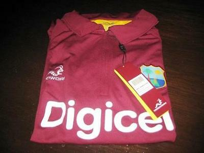 west indies odi short sleeve cricket shirt size large tags/packet