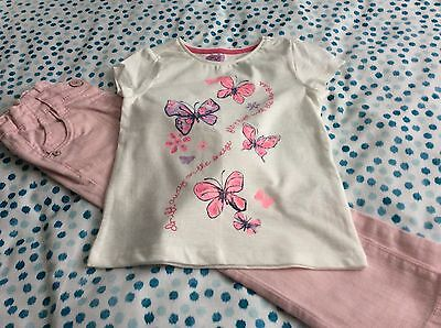 Next Pink Jeans With T - Shirt Age 2 - 3 Outfit Excellent