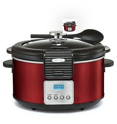 BELLA 14106 Linea Collection Programmable Slow Cooker  5-Quart, Red