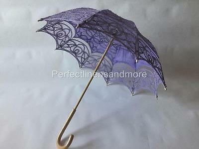 Lilac Battenburg Lace Parasol with curved Handle