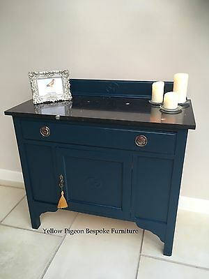 Antique Edwardian Hand Painted Blue Wash Stand Marble/Granite Top 100 m free del