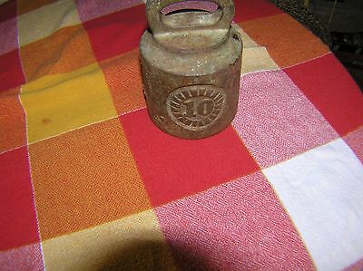 Antique 10 LB Cast Iron Hanging Scale Weight, Steampunk