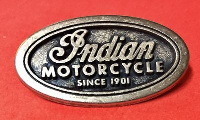 """Indian Motorcycle """"since 1901"""" Oval Pin~ 1 5/8"""" ~ Pinch Clip ~ Rare Pristine!"""