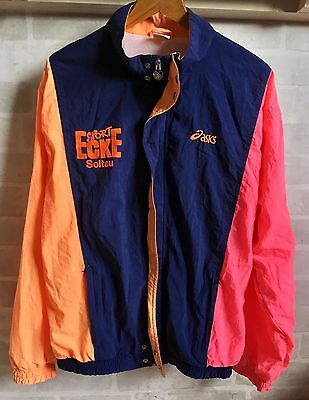 Vintage Retro 90s ASICS Sports Colourful Tracksuit Top Shell Jacket Windbreaker