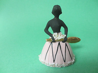 Lefton bell china black lady in pink skirt gold trim