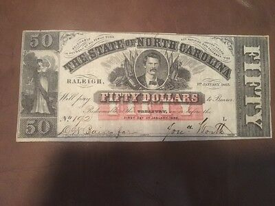 The State of North Carolina Fifty Dollar Bank Note Red Over Print  1863