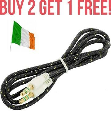 Black Braided Extra Strong 3.5mm to 3.5mm Car Aux Auxiliary Stereo Radio Cable