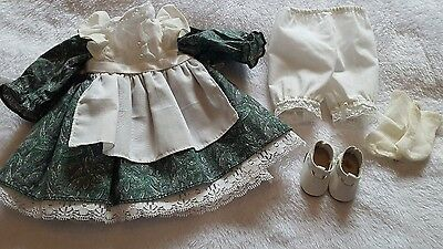 doll bear outfit  green dress w/ apron & shoes & bloomers & socks