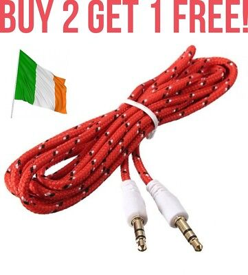 Red Braided Extra Strength 3.5mm to 3.5mm Car Aux Auxiliary Stereo Radio Cable