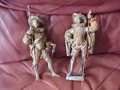 VICTORIAN FRENCH SPELTER BRASS ORMOLU MUSKETEERS CAVALIERS CLOCK GARNITURE x 2